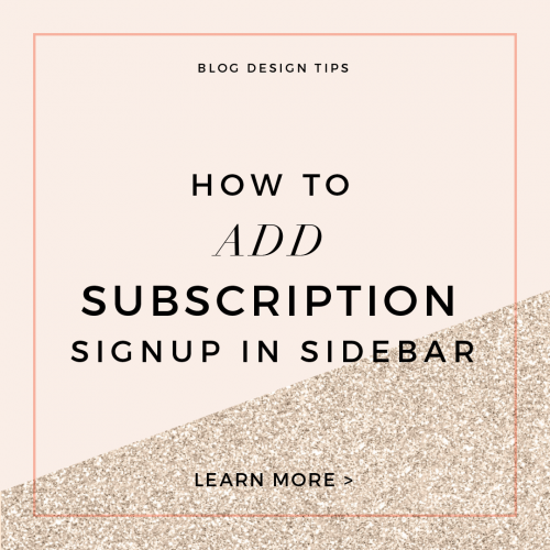 How To Add Subscription Signup in Sidebar