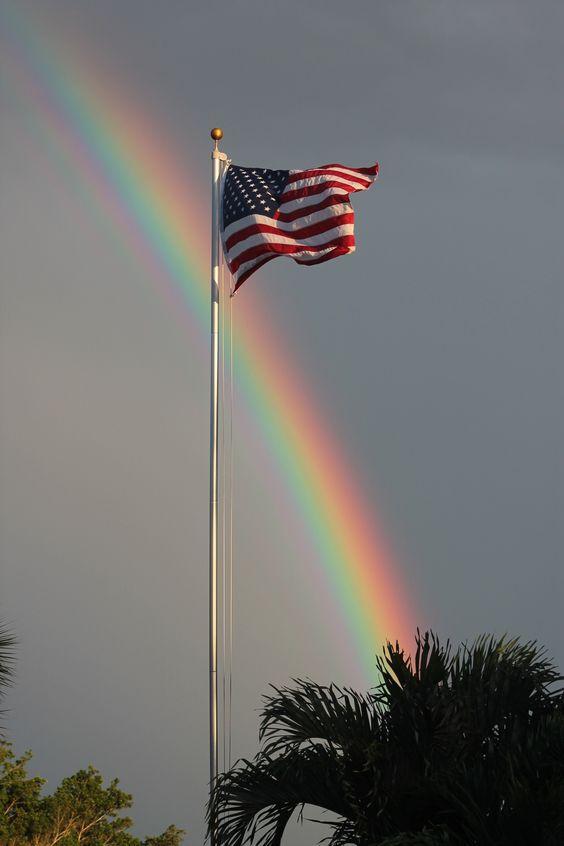 american flag with rainbow