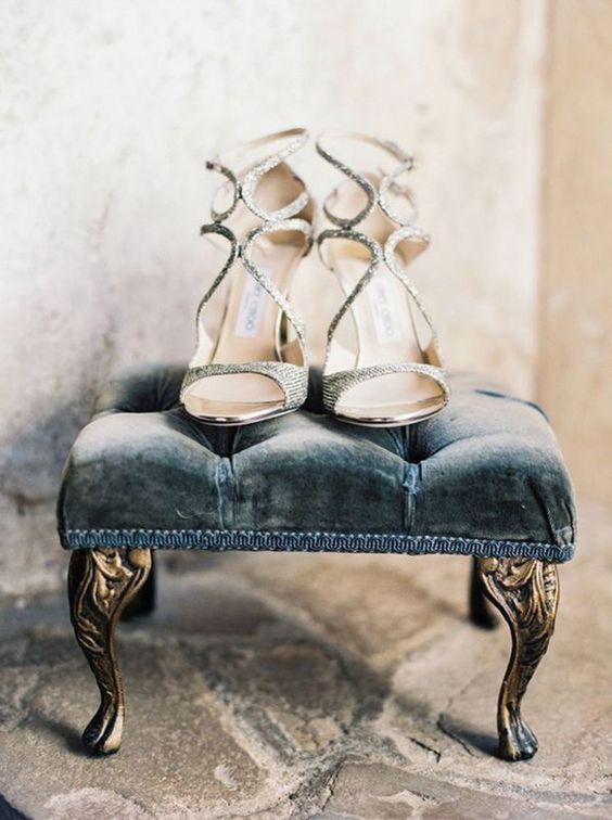 velvet blue wedding shoe inspiration