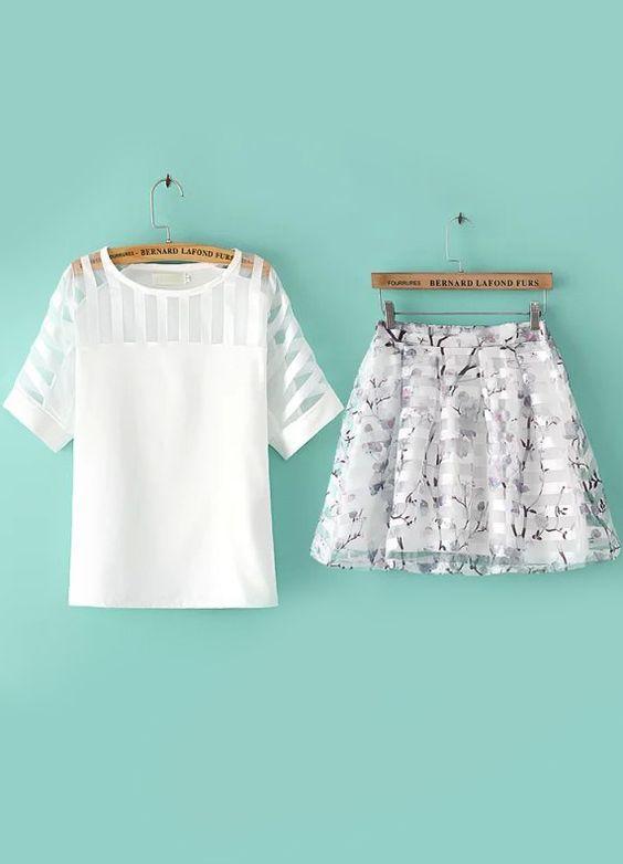 aquamarine skirt and top