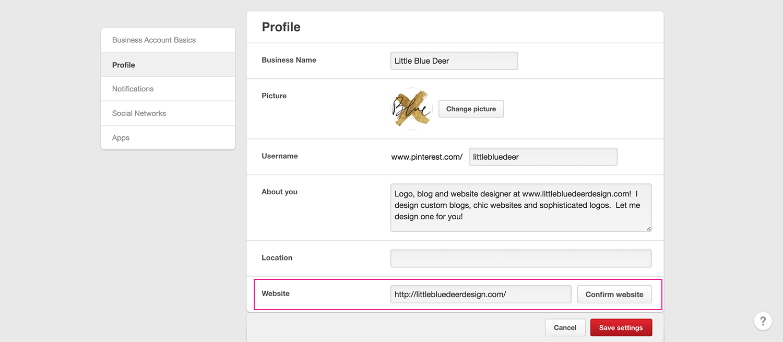 verify your website on pinterest 1
