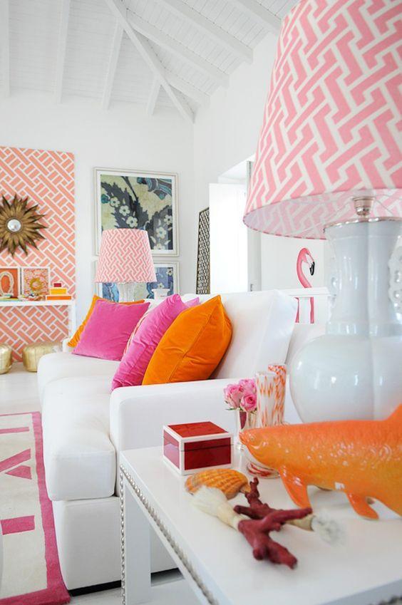 pink ikat lampshade