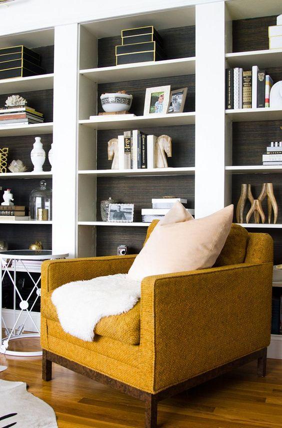 mustard yellow armchair