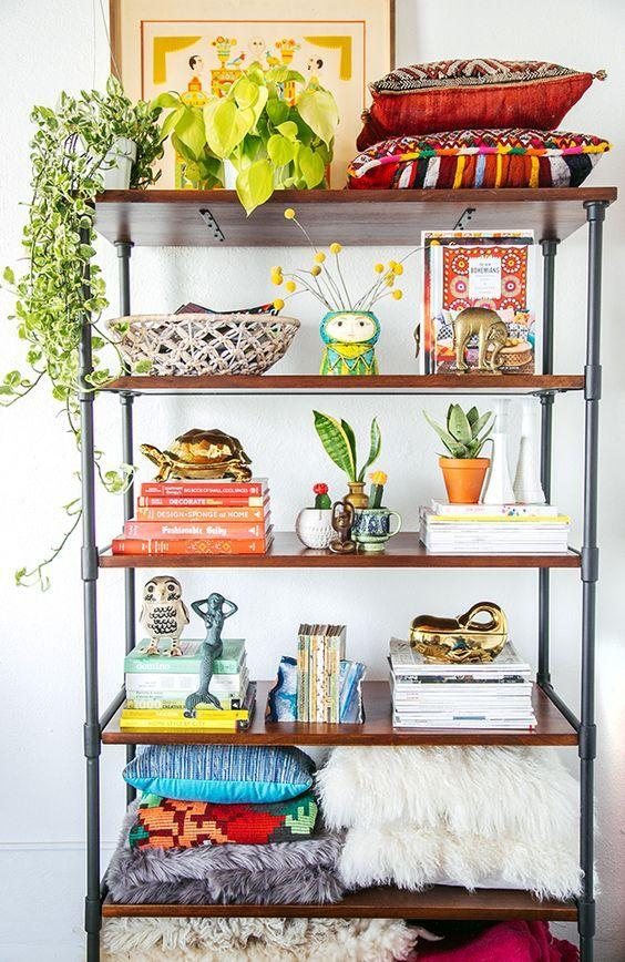 eclectic shelving