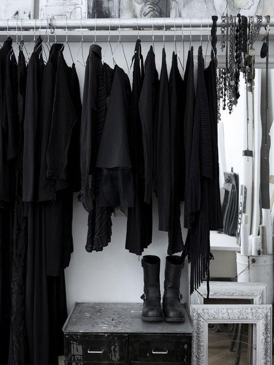 black clothes in closet