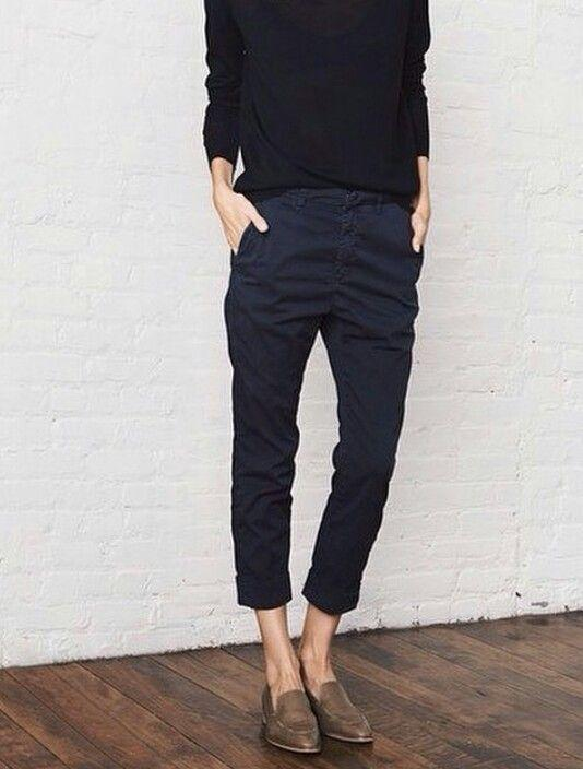 crop pants and loafers