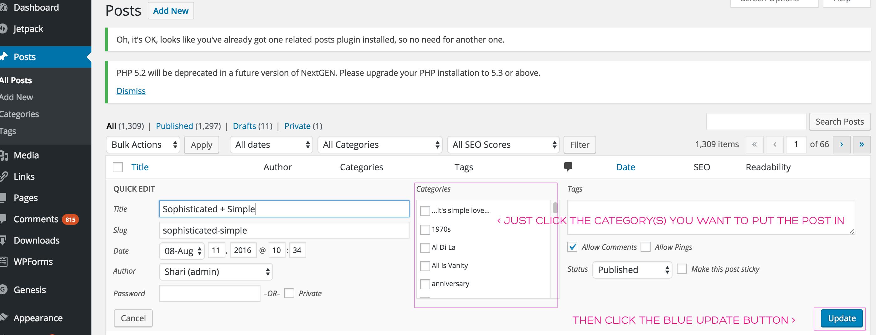 categorize posts screenshot 2