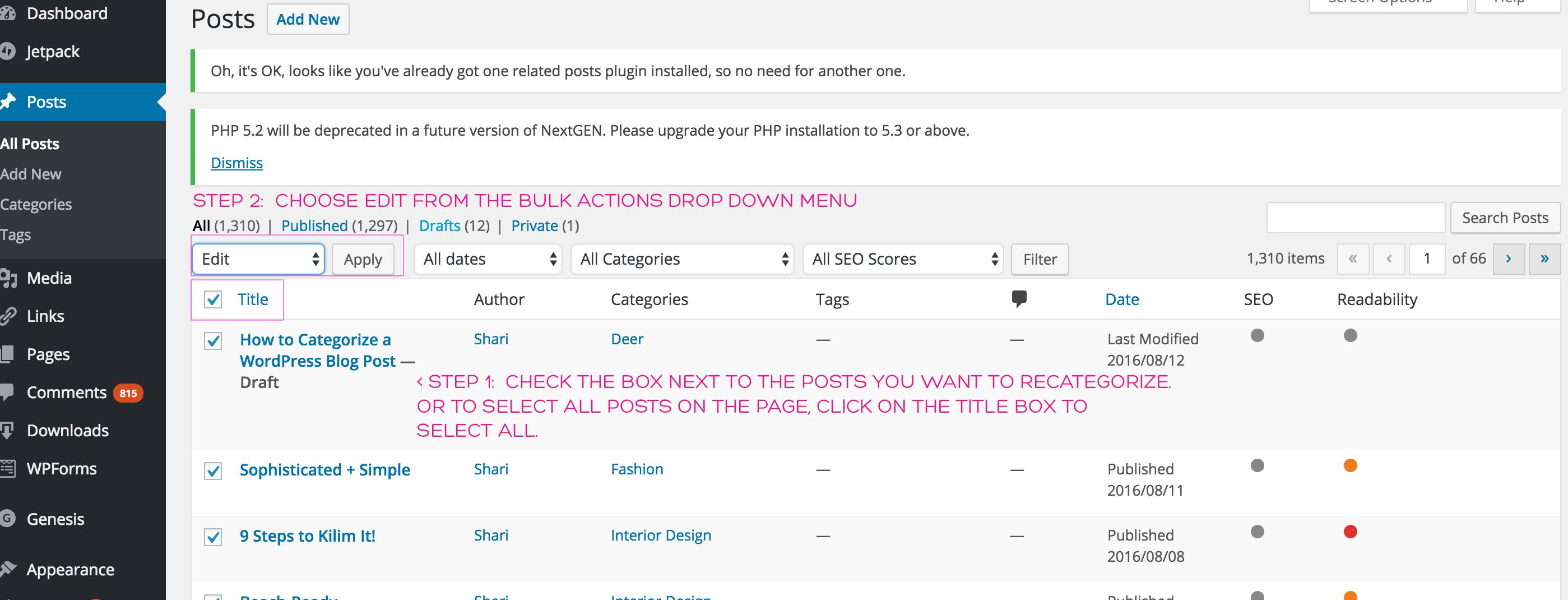 categorize posts screenshot 3