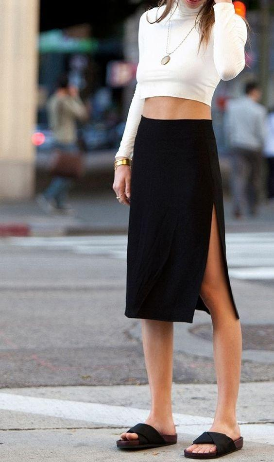 crop turtleneck and skirt