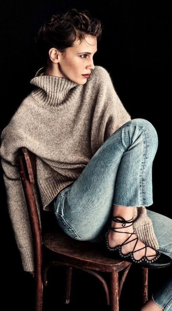 oversized turtleneck and jeans