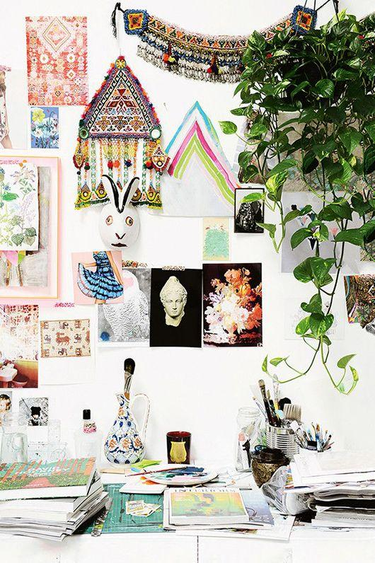colorful collage wall