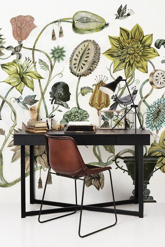 victorian botanical wall mural