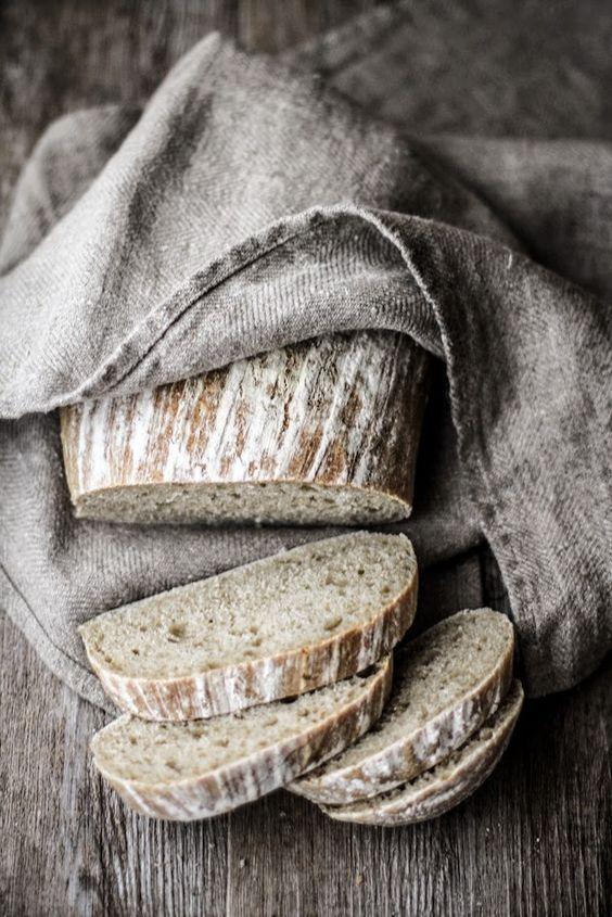 baked bread in burlap