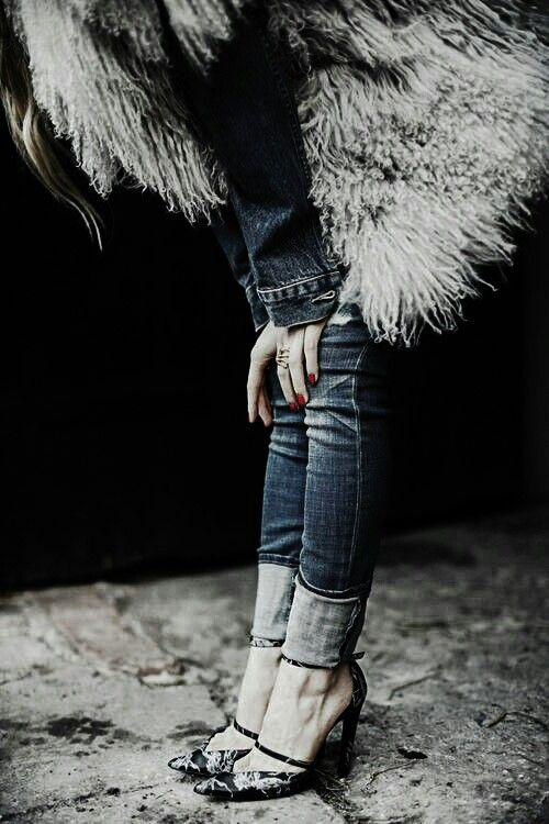 mongolian lamb vest and skinny jeans