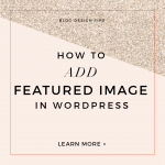 Custom Blog Design Tips – How to Add Featured Image in Wordpress