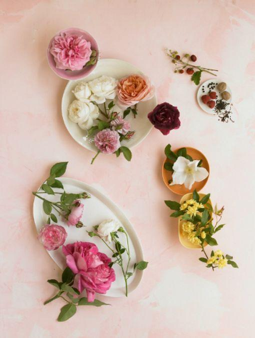flower arrangements on pink table
