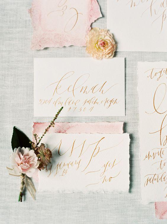 hand-lettered wedding invitations