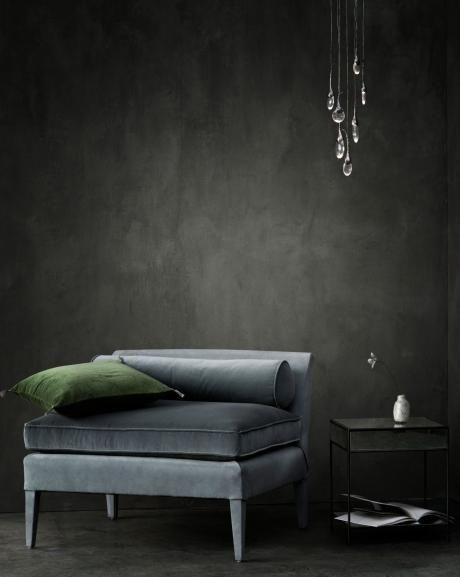 chalkboard walls and velvet upholstery