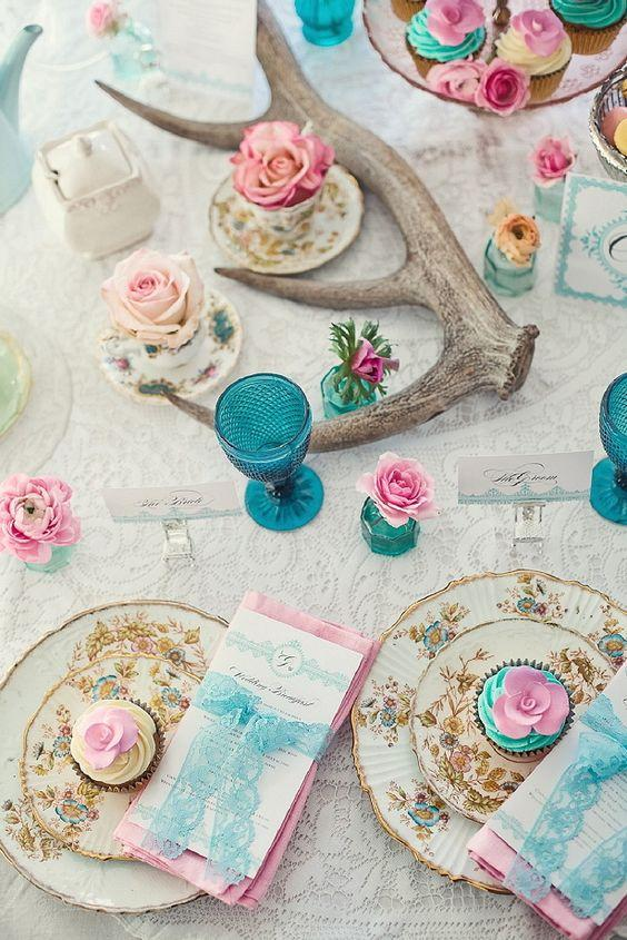 pink and blue wedding table setting