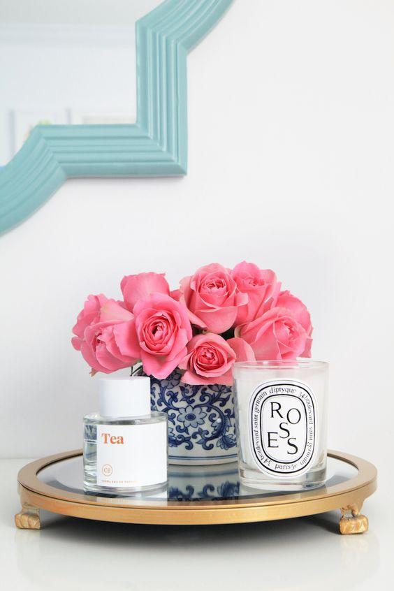pink roses and diptyque candle