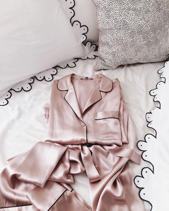 pink satin pajamas