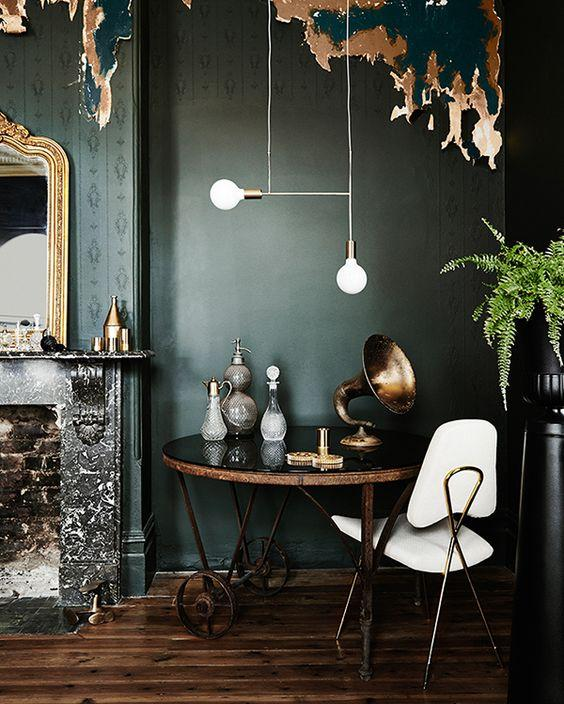 emerald green and gold walls