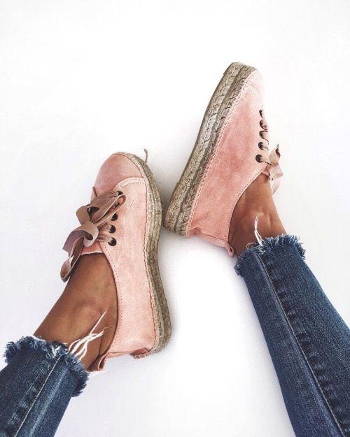 pink suede espadrilles