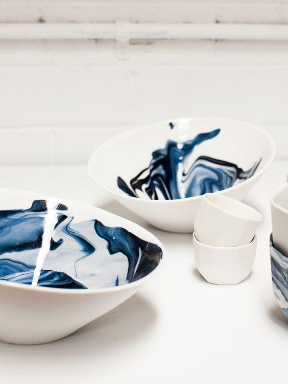 blue watercolor bowls