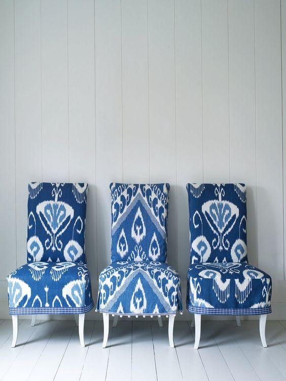 blue ikat chairs
