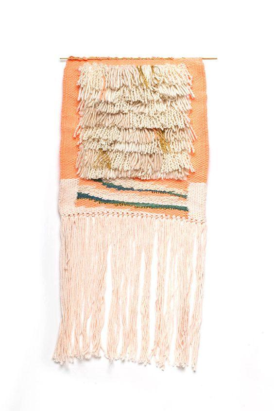 peach woven moroccan wall hanging