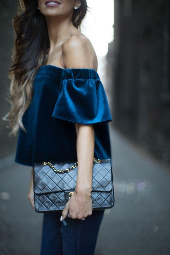 blue velvet off the shoulder top