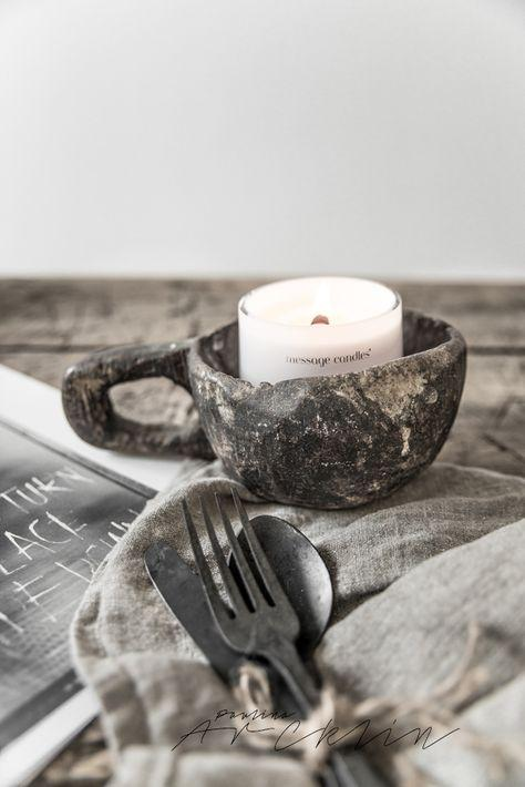 candle in mug