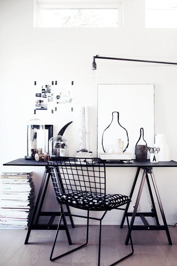 black wire chair and desk