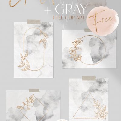 Gold + Gray  Clip Art Kit Plus 2 Bonus Watercolors